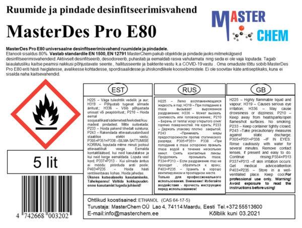 Desinfitseerimisvahend MasterDes Pro E80