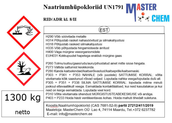 Sodium hypochlorite 12 - 15% (CAS 7681-52-9)