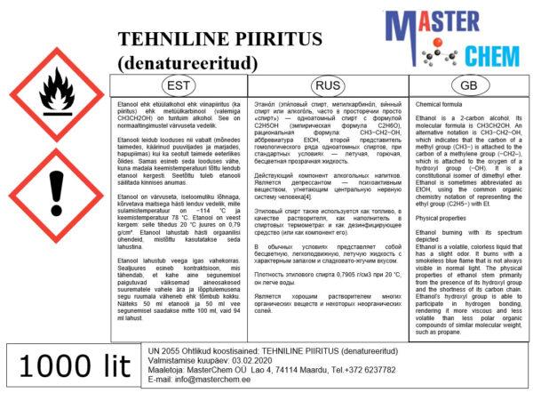 Tehniline piiritus info MasterChem