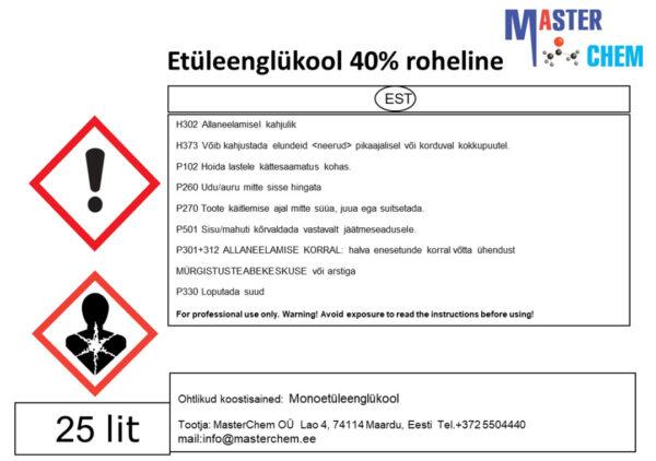 Etüleenglükool 40% Master EWS-40 (CAS 107-21-1)