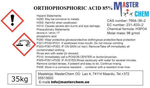 Ortofosforihappo 85% (CAS 7664-38-2)
